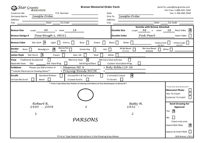 US Order Forms Star Granite – Order Form Layout